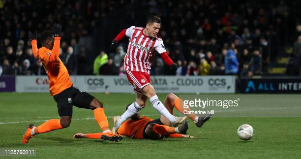 Sergi Canos of Brentford scores his team's 3rd goal during the FA Cup Fourth Round match between Barnet and Brentford at The Hive on January 28, 2019...