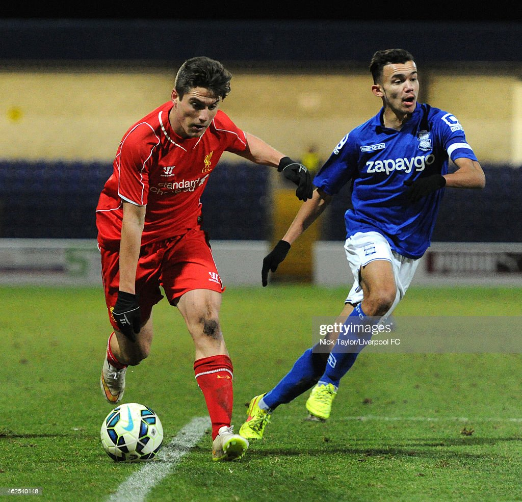 Sergi Canos of Liverpool and Domenic Bernard of Birmingham City in action during the FA Youth Cup 5th Round match between Liverpool and Birmingham City at The Swansway Chester Stadium on January 30, 2015 in Chester, England.