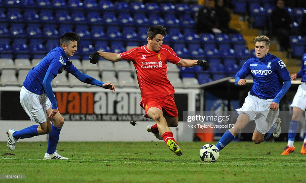Sergi Canos of Liverpool and Josh Martin of Birmingham City in action during the FA Youth Cup 5th Round match between Liverpool and Birmingham City at The Swansway Chester Stadium on January 30, 2015 in Chester, England.