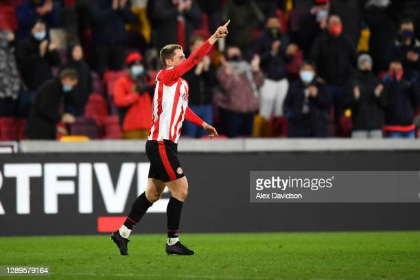 Sergi Canós of Brentford celebrates scoring his sides second goal during the Sky Bet Championship match between Brentford and Blackburn Rovers at...