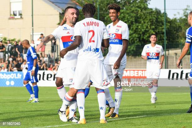 Sergi Darder Mapou Yanga Mbiwa and Willem Geubbels of Lyon celebrate his goal during the friendly match between Olympique Lyonnais and BourgenBresse...
