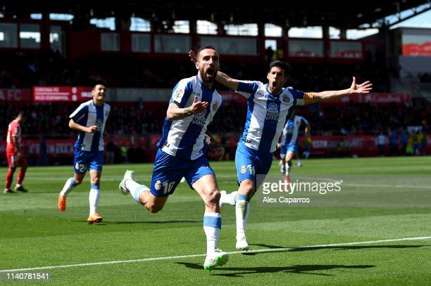 Sergi Darder Moll of RCD Espanyol celebrates after scoring his team's first goal during the La Liga match between Girona FC and RCD Espanyol at...