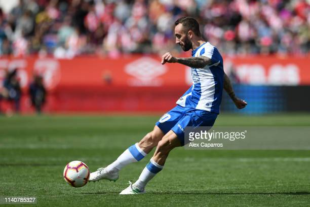 Sergi Darder Moll of RCD Espanyol scores his team's second goal during the La Liga match between Girona FC and RCD Espanyol at Montilivi Stadium on...