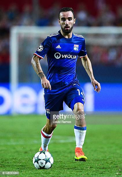 Sergi Darder of Olympique Lyonnais runs with the ball during the UEFA Champions League Group H match between Sevilla FC and Olympique Lyonnais at the...