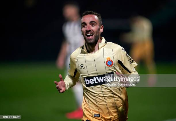 Sergi Darder of RCD Espanyol celebrates after scoring his team's third goal during the Liga Smartbank match betwen CD Castellon and RCD Espanyol de...