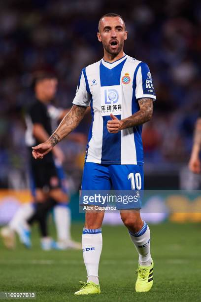Sergi Darder of RCD Espanyol reacts during the UEFA Europa League Play Off match between Espanyol and Zoryan Luhansk at RCDE Stadium on August 22...