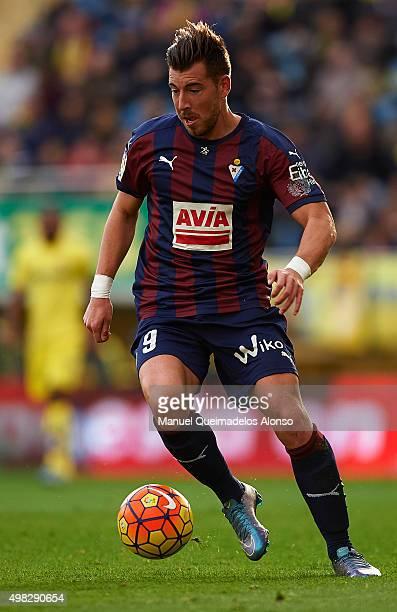 Sergi Enrich Ametller of Eibar runs with the ball during the La Liga match between Villarreal CF and SD Eibar at El Madrigal stadium on November 22...