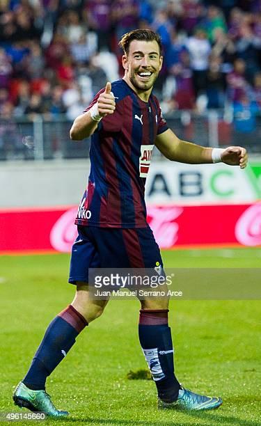 Sergi Enrich of SD Eiba celebrates after scoring his team's second goal during the La Liga match between SD Eibar and Getafe CF at Ipurua Municipal...