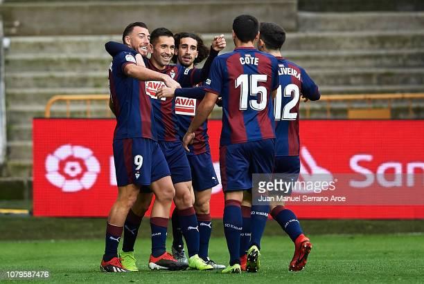 Sergi Enrich of SD Eibar celebrates after scoring goal during the La Liga match between SD Eibar and Levante UD at Ipurua Municipal Stadium on...