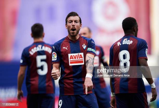 Sergi Enrich of SD Eibar celebrates after scoring goal during the La Liga match between SD Eibar and RC Celta de Vigo at Ipurua Municipal Stadium on...