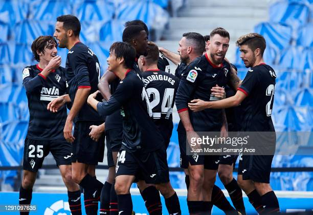 Sergi Enrich of SD Eibar celebrates after scoring goal during the La Liga Santander match between Real Sociedad and SD Eibar at Estadio Anoeta on...