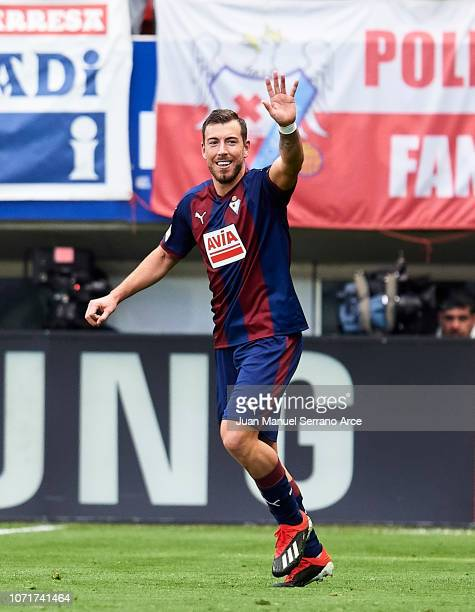 Sergi Enrich of SD Eibar celebrates after scoring his team's second goal during the La Liga match between SD Eibar and Real Madrid CF at Ipurua...
