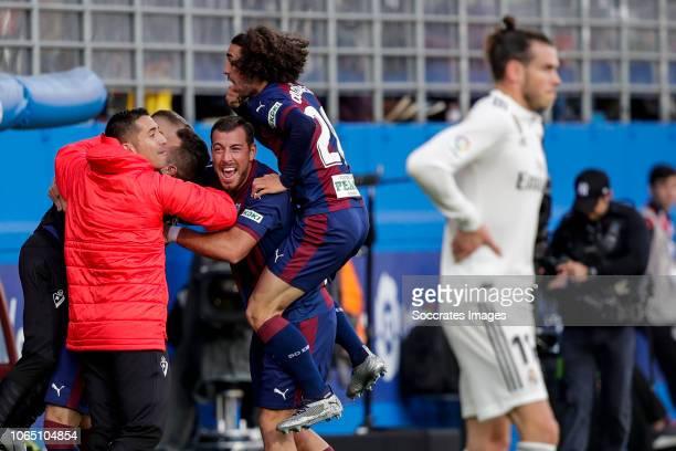 Sergi Enrich of SD Eibar Marc Cucurella of SD Eibar Gareth Bale of Real Madrid during the La Liga Santander match between Eibar v Real Madrid at the...