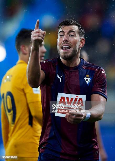 Sergi Enrich of SD Eibar reacts during the La Liga match between SD Eibar and Atletico Madrid at Ipurua Municipal Stadium on January 13 2018 in Eibar...