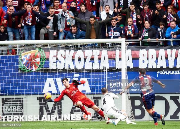 Sergi Enrich of SD Eibar scoring his team's second goal during the La Liga match between SD Eibar and Real Madrid CF at Ipurua Municipal Stadium on...