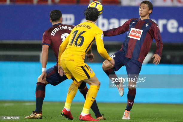Sergi Enrich of SD Eibar Sime Vrsaljko of Atletico Madrid Inui of SD Eibar during the La Liga Santander match between Eibar v Atletico Madrid at the...
