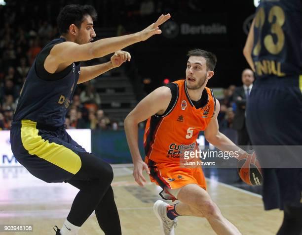 Sergi Garcia #5 of Valencia Basket in action during the 2017/2018 Turkish Airlines EuroLeague Regular Season Round 17 game between Valencia Basket...