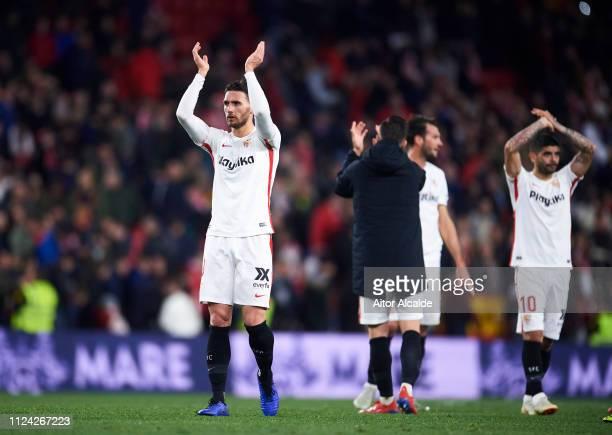 Sergi Gomez of Sevilla FC celebrates victory after the Copa del Quarter Final match between Sevilla FC and FC Barcelona at Estadio Ramon Sanchez...