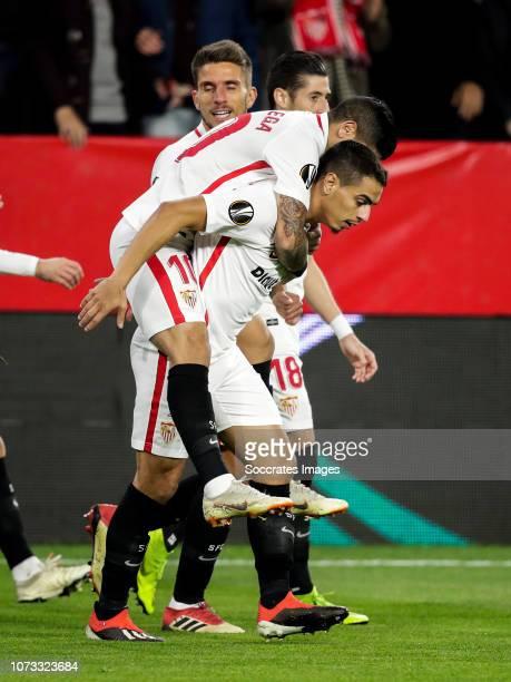 Sergi Gomez of Sevilla FC Escudero of Sevilla FC Ever Banega of Sevilla FC Wissam Ben Yedder of Sevilla FC during the UEFA Europa League match...