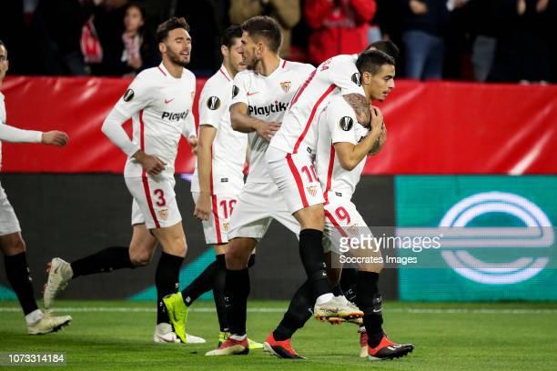 Sergi Gomez of Sevilla FC Escudero of Sevilla FC Franco Vazquez of Sevilla FC Ever Banega of Sevilla FC Wissam Ben Yedder of Sevilla FC during the...