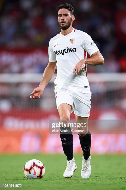 Sergi Gomez of Sevilla FC in action during the La Liga match between Sevilla FC and Getafe CF at Estadio Ramon Sanchez Pizjuan on September 16 2018...