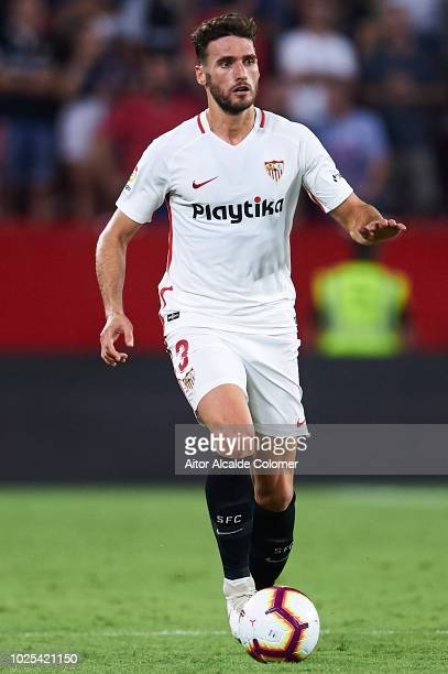 Sergi Gomez of Sevilla FC in action during the UEFA Europa League Play Off Second Leg match between Sevilla and Sigma Olomuc at Ramon Sanchez Pizjuan...
