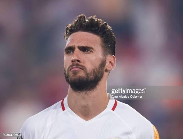 Sergi Gomez of Sevilla FC looks on prior to the start the UEFA Europa League Group J match between Sevilla and Akhisar Belediyespor at Estadio Ramon...