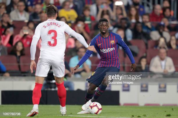 Sergi Gomez of Sevilla FC Ousmane Dembele of FC Barcelona during the La Liga Santander match between FC Barcelona v Sevilla at the Camp Nou on...