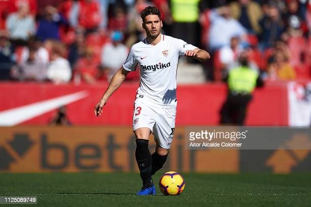 Sergi Gomez of Sevilla FC runs with the ball during the La Liga match between Sevilla FC and Levante UD at Estadio Ramon Sanchez Pizjuan on January...