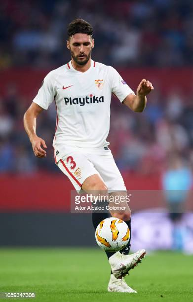 Sergi Gomez of Sevilla in action during the UEFA Europa League Group J match between Sevilla and Akhisar Belediyespor at Estadio Ramon Sanchez...