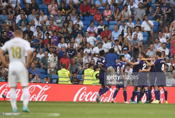 Sergi Guardiola of Real Valladolid celebrates after scoring his sides first goal during the La Liga match between Real Madrid CF and Real Valladolid...