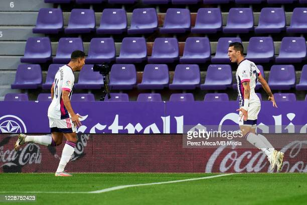 Sergi Guardiola of Real Valladolid CF celebrates goal during the La Liga Santander match between Real Valladolid CF and RC Celta at Estadio Municipal...