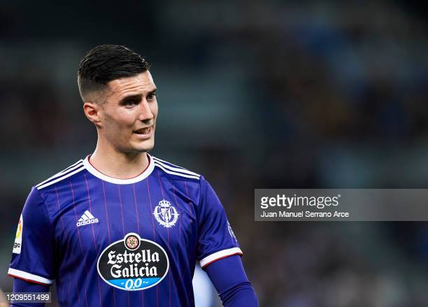 Sergi Guardiola of Real Valladolid CF reacts during the Liga match between Real Sociedad and Real Valladolid CF at Estadio Anoeta on February 28 2020...