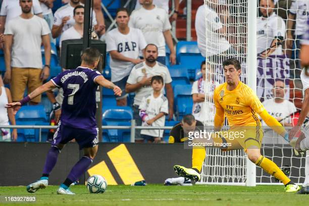 Sergi Guardiola of Real Valladolid Thibaut Courtois of Real Madrid scores the first goal to make it 11 during the La Liga Santander match between...