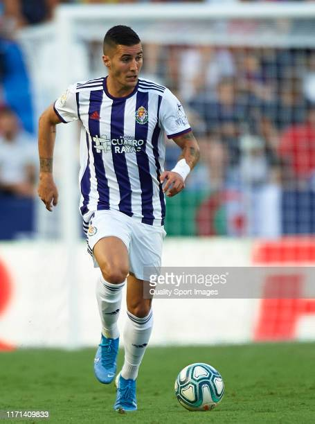 Sergi Guardiola of Real Valladolidruns with the ball during the La Liga match between Levante UD and Real Valladolid CF at Ciutat de Valencia on...
