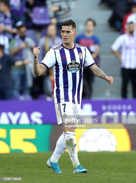 Sergi Guardiola of Valladolid celebrates after scoring his team's second goal during the La Liga match between Real Valladolid CF and RCD Espanyol at...