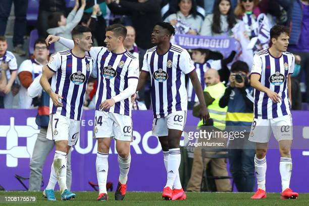 Sergi Guardiola of Valladolid celebrates with teammates after scoring his team's second goal during the La Liga match between Real Valladolid CF and...
