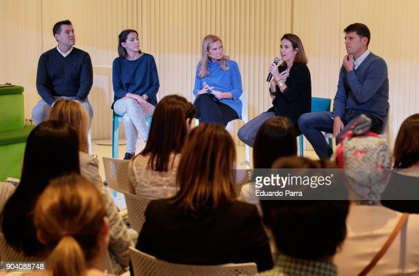 Sergi Juanos Maria Williams Paloma Blanc Rita Alonso and Juan Jose Flor attend the 'MamAPPs y PapAPPS' event at BBVA space on January 11 2018 in...