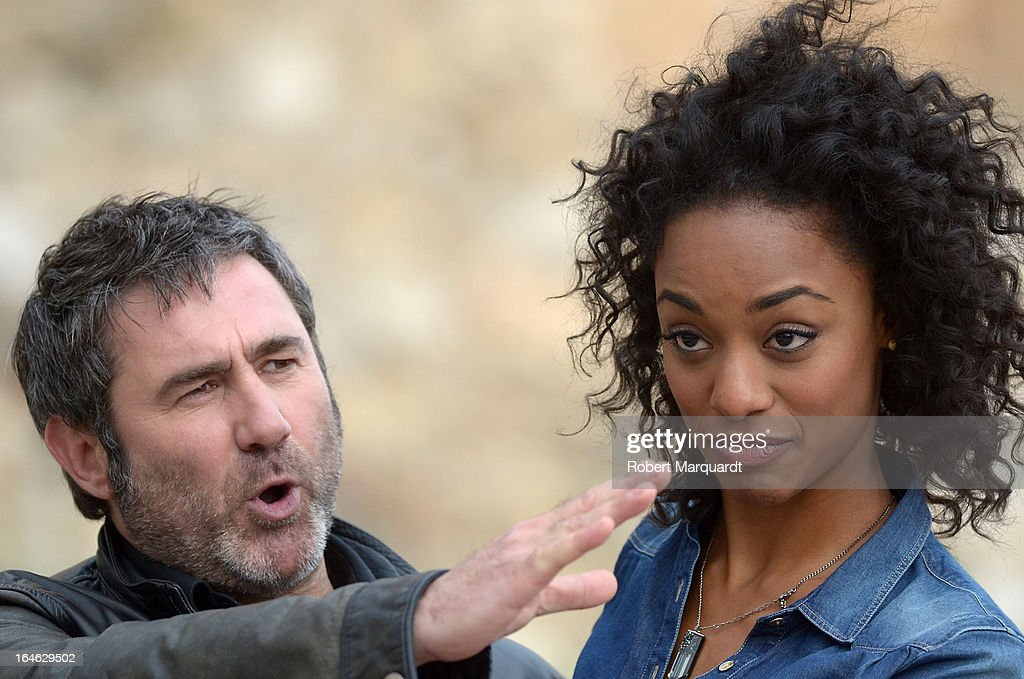 Sergi Lopez (L) and Ella Kweku on the set of their latest film 'Ismael' on March 25, 2013 in Barcelona, Spain.