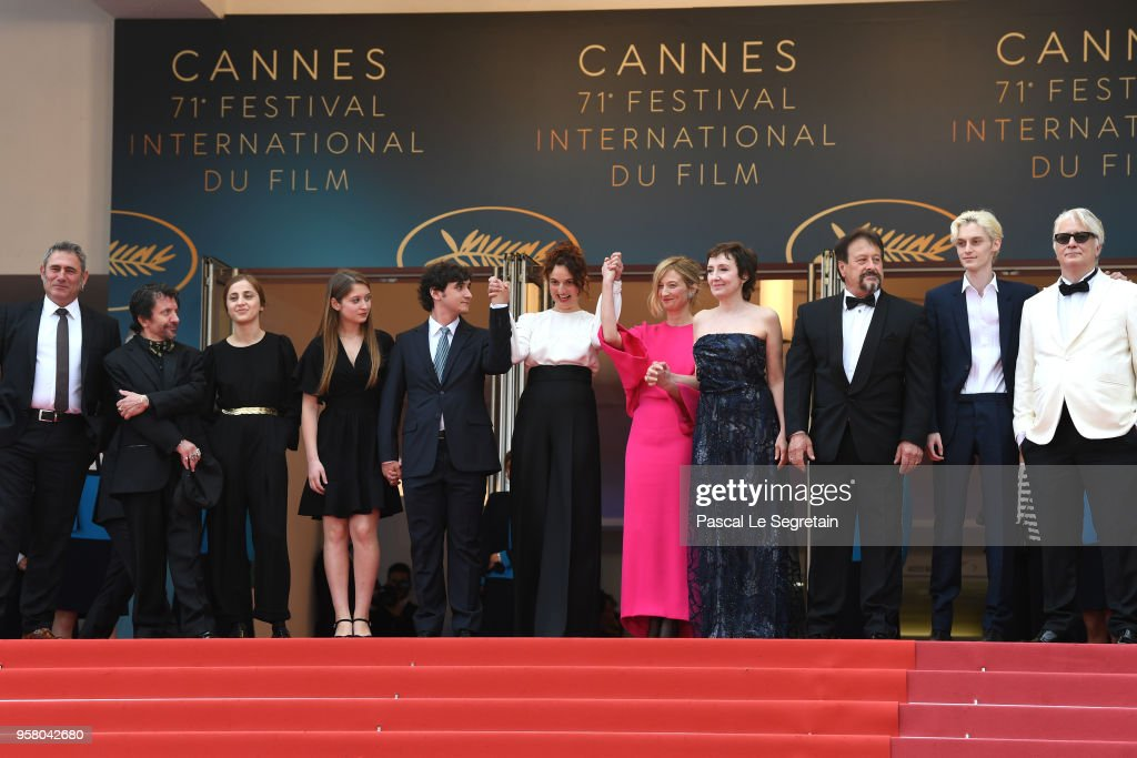 Sergi Lopez, David Bennent, director Gala Othero Winter, actress Agnese Graziani, actor Adriano Tardiolo, director Alice Rohrwacher, actress Alba Rohrwacher, actress Nicoletta Braschi, actor Natalino Balasso, actor Luca Chikovani and guest attend the screening of 'Happy As Lazzaro (Lazzaro Felice)' during the 71st annual Cannes Film Festival at Palais des Festivals on May 13, 2018 in Cannes, France.