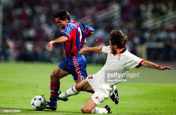 Sergi of FC Barcelona and Zvonimir Boban of Milan during the Champion's league finale match between Milan AC and Barcelona on May 18, 1994 in Athens,...