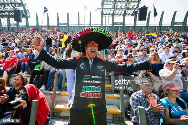 Sergi Perez fan during qualifying for the Formula One Grand Prix of Mexico at Autodromo Hermanos Rodriguez on October 28 2017 in Mexico City Mexico
