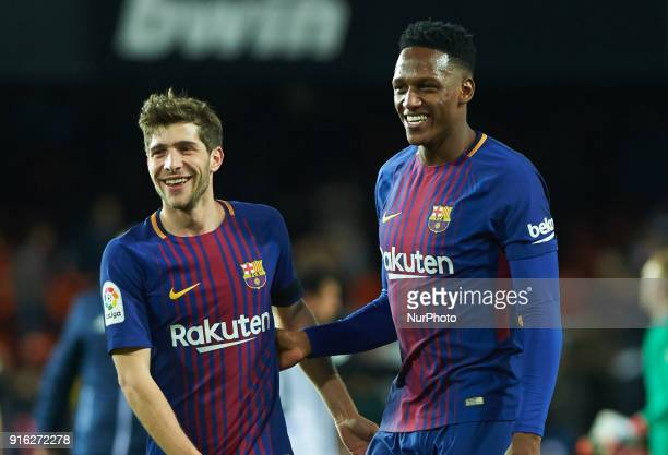 Sergi Roberto and Yerry Mina of FC Barcelona during the spanish Copa del Rey semifinal second leg match between Valencia CF and FC Barcelona at...