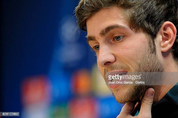 Sergi Roberto attend the press at the Sports Center FC Barcelona Joan Gamper before the UEFA Champions League match between FC Barcelona and Borussia...