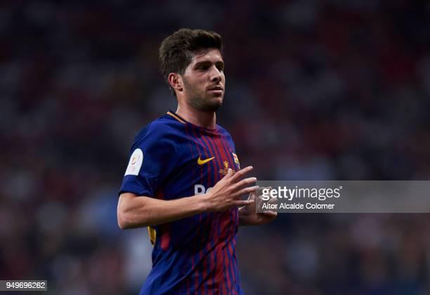 Sergi Roberto Carnicer of FC Barcelona reacts during the Spanish Copa del Rey Final between Barcelona and Sevilla at Wanda Metropolitano on April 21...