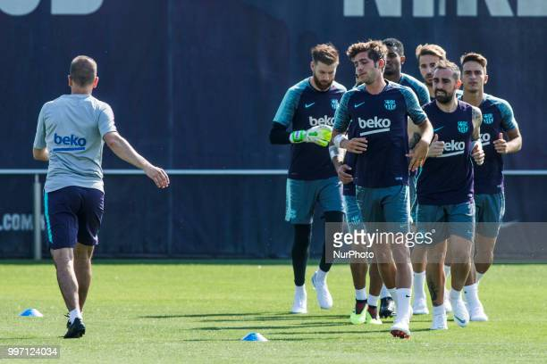 Sergi Roberto from Spain and Paco Alcacer from Spain during the first FC Barcelona training session of the 2018/2019 La Liga pre season in Ciutat...