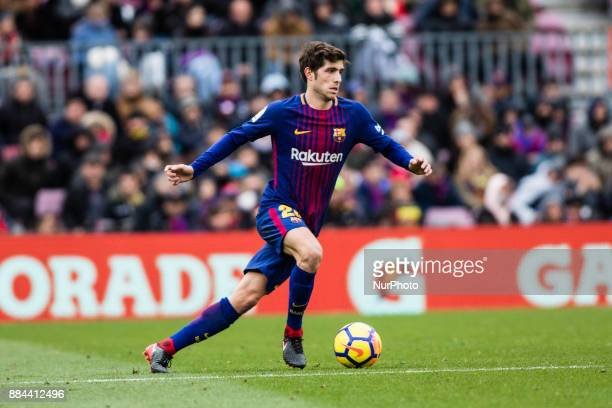 Sergi Roberto from Spain of FC Barcelona during the La Liga match between FC Barcelona v Celta de Vigo at Camp Nou Stadium on December 2 2017 in...