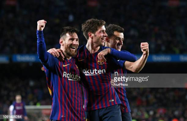 Sergi Roberto goal celebration during the match between FC Barcelona and Sevilla FC corresponding to the secong leg of the 1/4 final of the spanish...