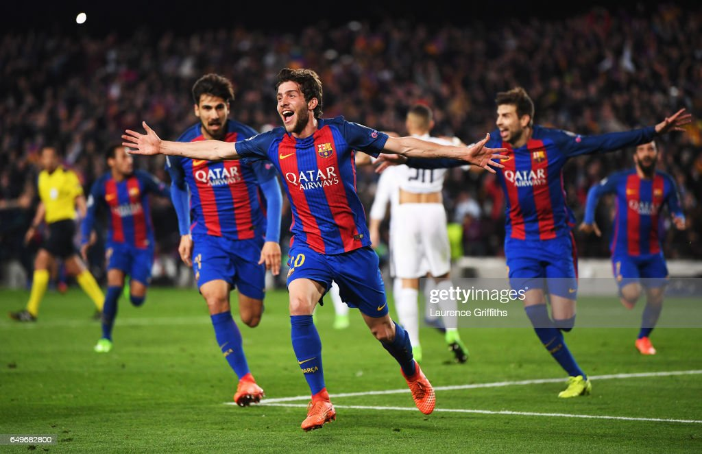 Sergi Roberto of Barcelona (20) celebrates as he scores their sixth goal during the UEFA Champions League Round of 16 second leg match between FC Barcelona and Paris Saint-Germain at Camp Nou on March 8, 2017 in Barcelona, Spain.