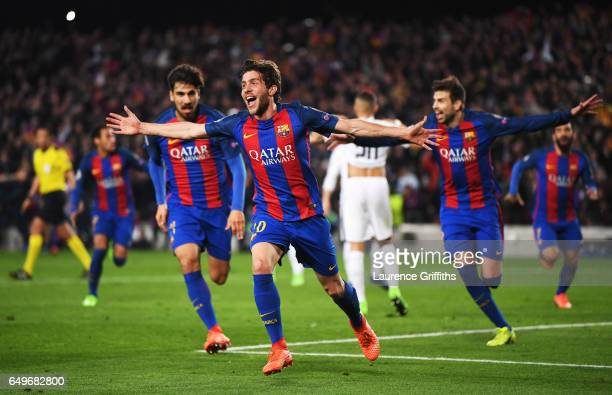 Sergi Roberto of Barcelona celebrates as he scores their sixth goal during the UEFA Champions League Round of 16 second leg match between FC...